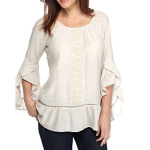 W/TAG RUFFLE SLEEVE with CROCHET Trim BLOUSE TOP